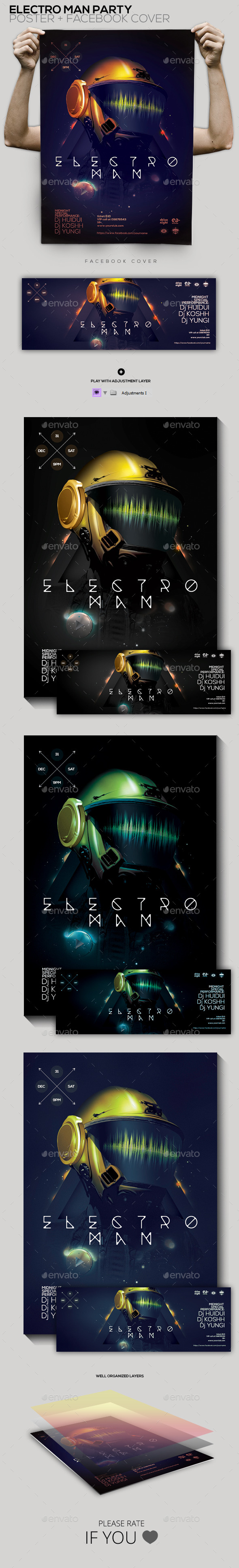 Electro Man Party Flyer/Poster/Facebook Cover - Clubs & Parties Events