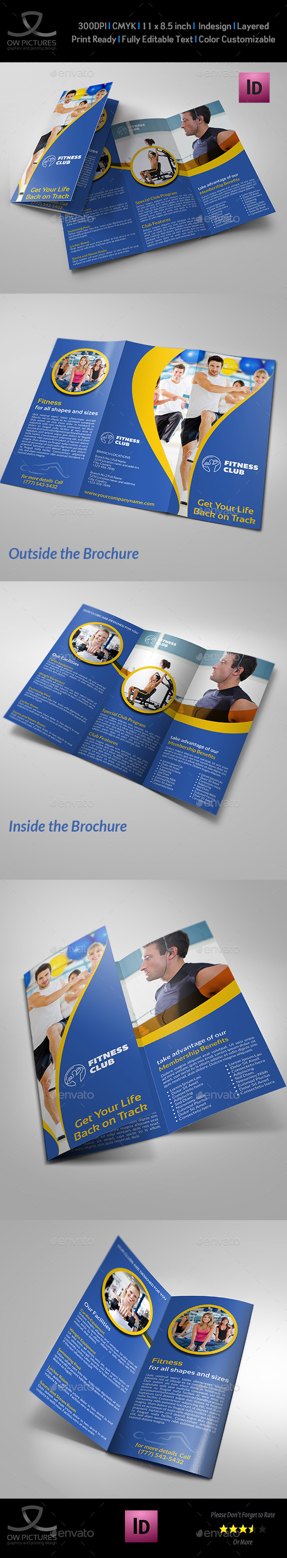 Fitness - GYM Tri-Fold Template Vol.3 - Brochures Print Templates