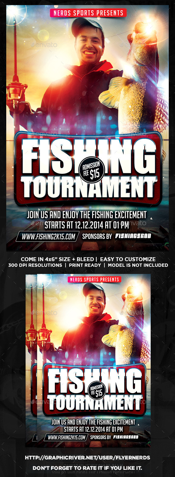 Fishing Flyer Graphics Designs Templates From Graphicriver