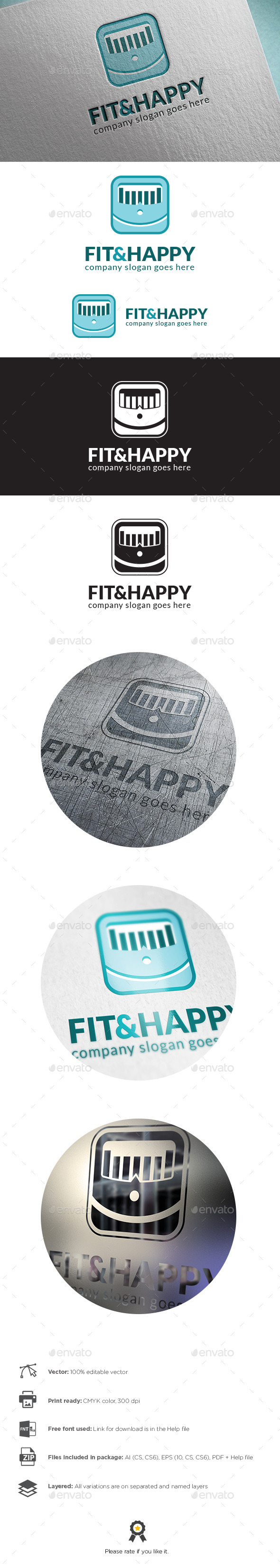 Fit And Happy Logo - Symbols Logo Templates