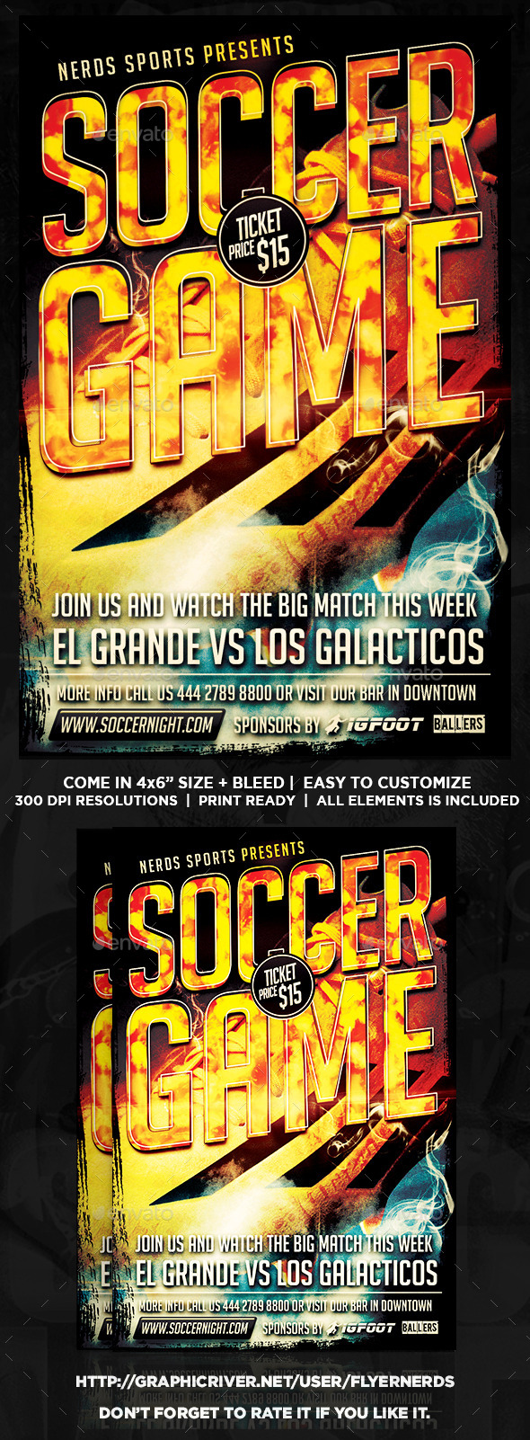 Soccer Game 2K15 Sports Flyer - Sports Events