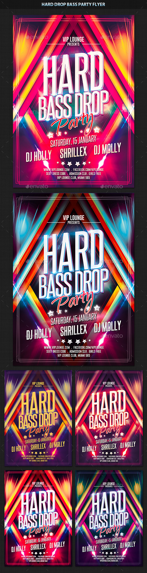 Hard Bass Drop Party Flyer - Clubs & Parties Events