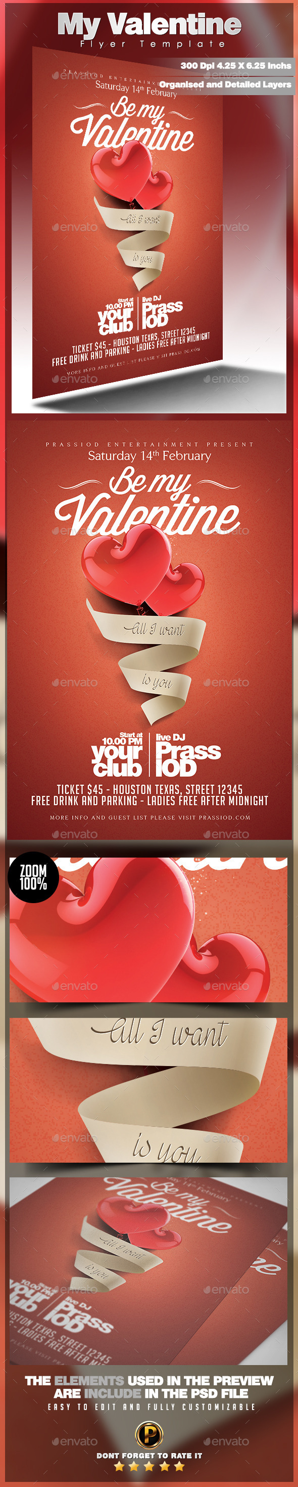 My Valentine Flyer Template - Clubs & Parties Events