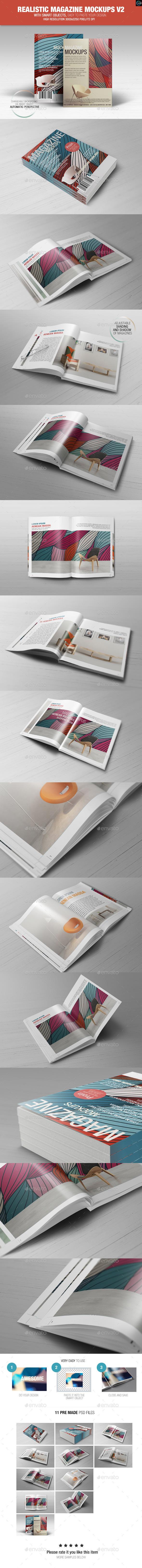 Realistic Magazine Mockups V2 - Magazines Print