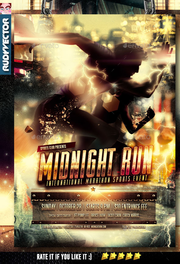 Midnight Run Night Run Marathon Sports Flyer - Sports Events