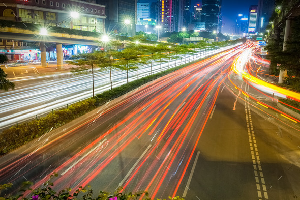 city road at night  on rush hour traffic - Stock Photo - Images