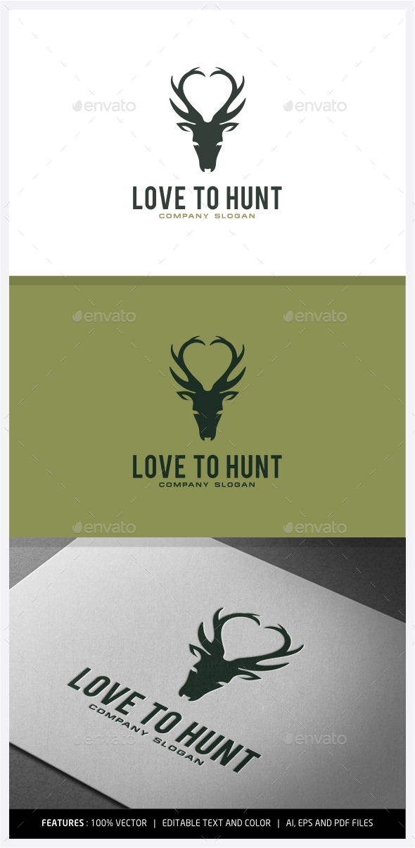Love to Hunt logo Designs - Animals Logo Templates