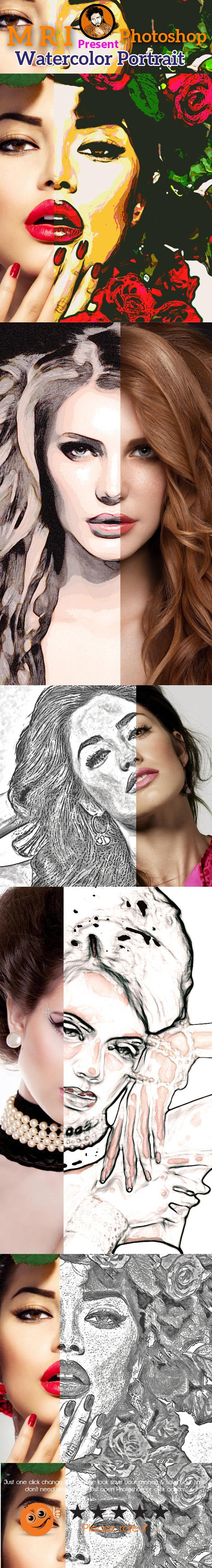 Watercolor Portrait - Photo Effects Actions