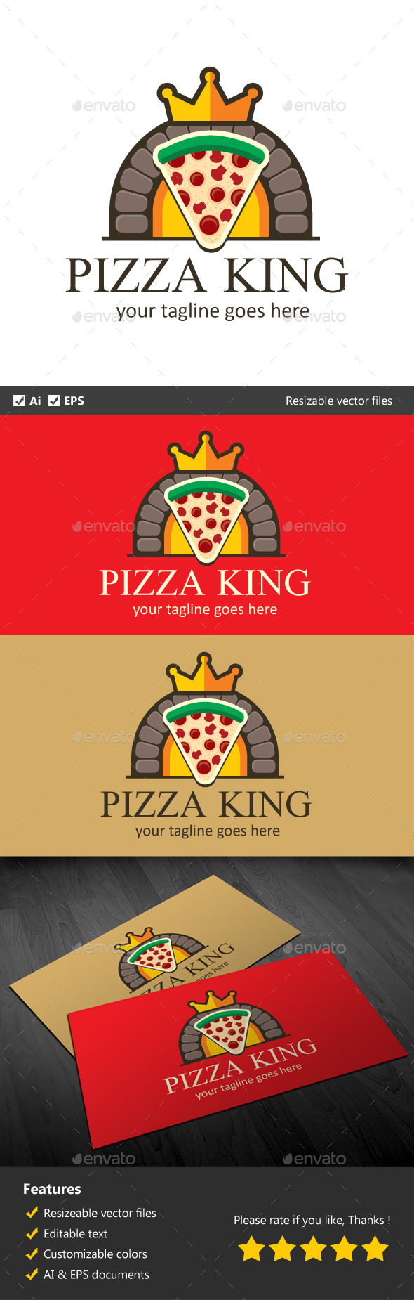 Pizza King - Food Logo Templates