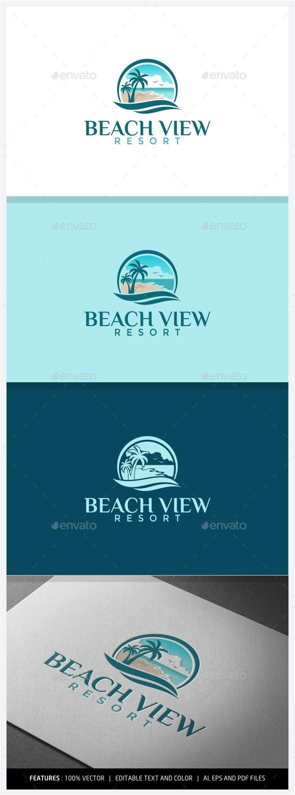 Beach View Resort Logo - Nature Logo Templates