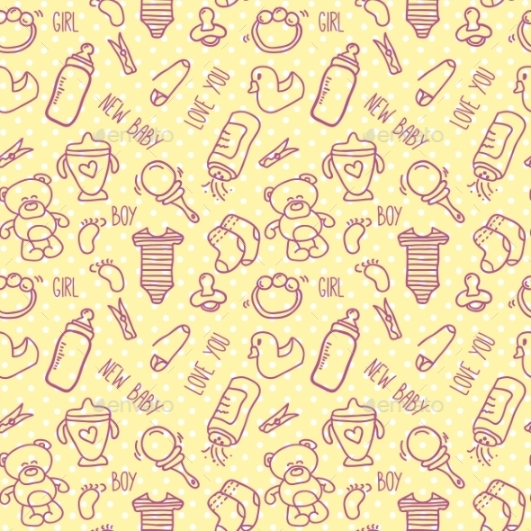 Seamless Baby Background for Baby Shower - Patterns Decorative