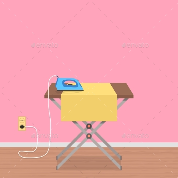 Concept of House Work with Ironing Board - Buildings Objects