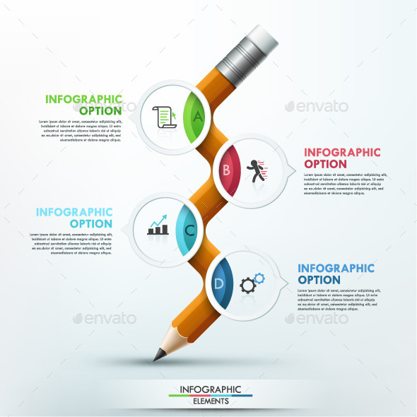 Modern Infographic Pencil Template - Infographics