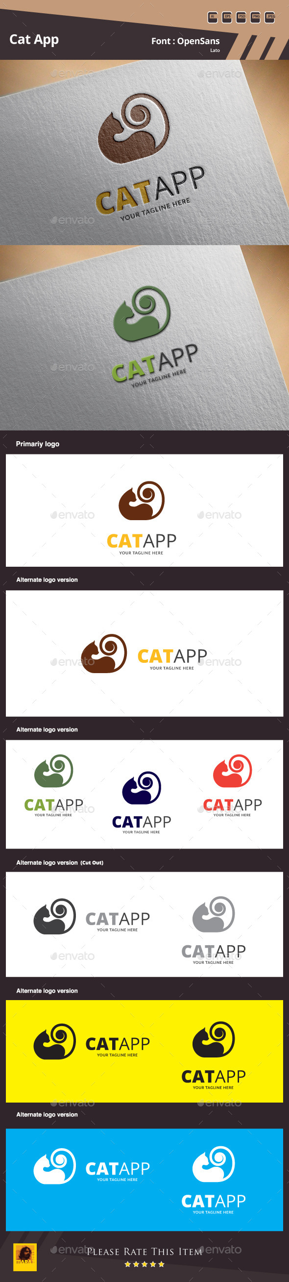 Cat App Logo Template - Animals Logo Templates
