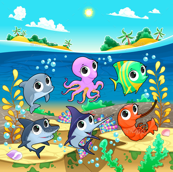 Marine Animals in the Sea - Animals Characters