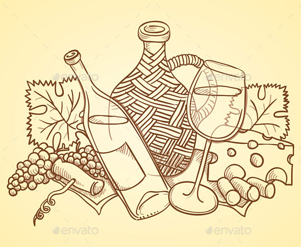 Wine Themed Drawing - Commercial / Shopping Conceptual