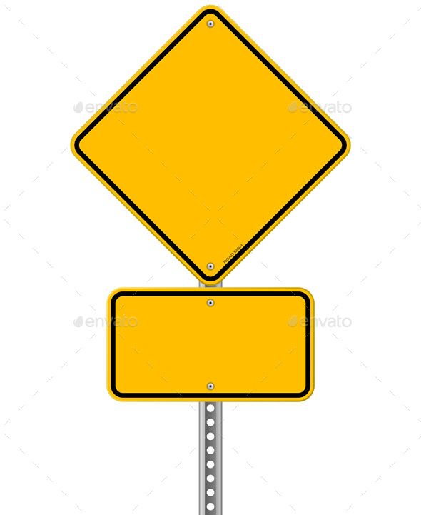 Yellow Sign and Pole - Travel Conceptual
