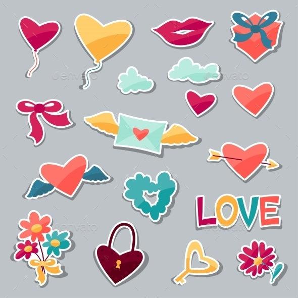 Set of Valentine's and Wedding Stickers - Valentines Seasons/Holidays