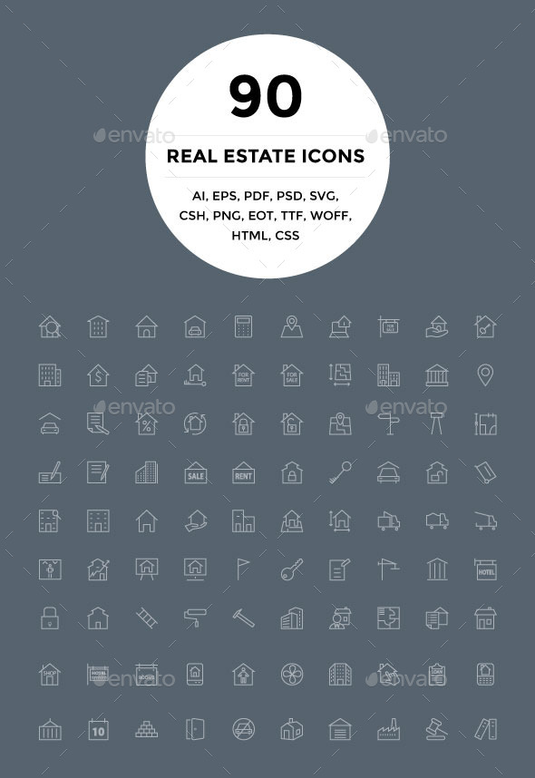 90 Real Estate Icons - Icons