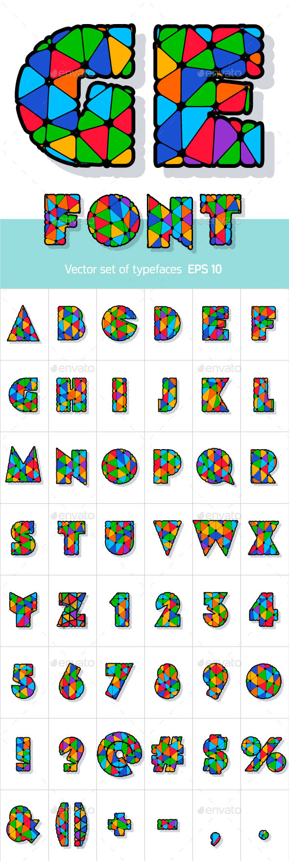 Multicolored Alphabet - Decorative Symbols Decorative
