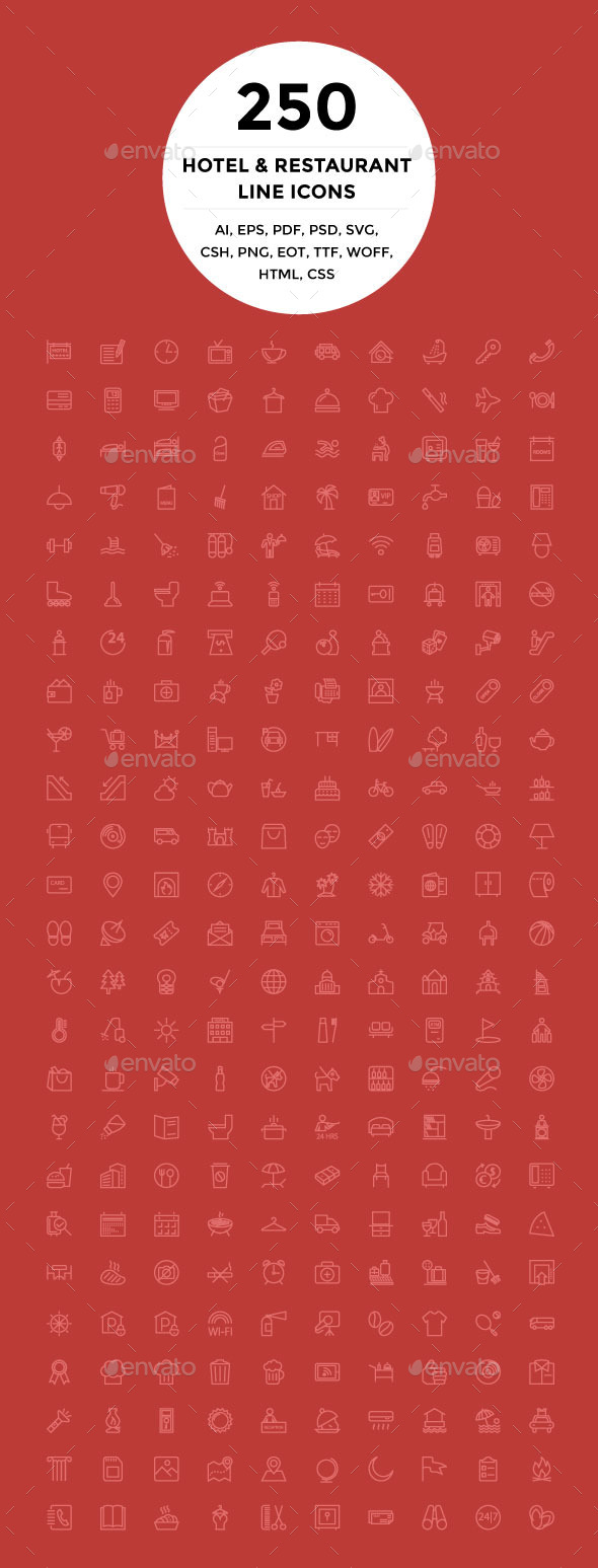 250 Hotel and Restaurant Line Icons - Icons