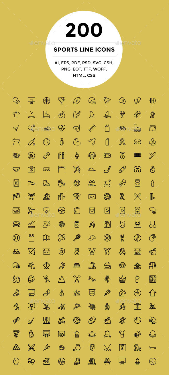 200 Sports Line Icons - Icons