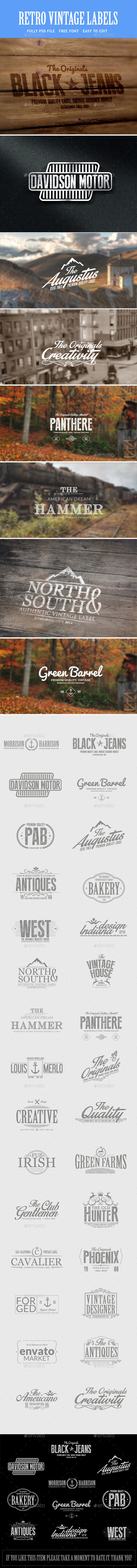 Vintage Retro Badges - Bundle - Badges & Stickers Web Elements