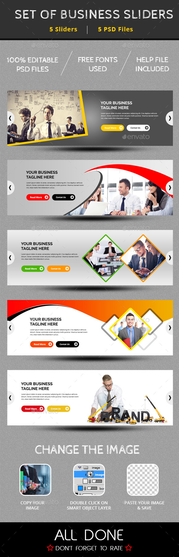 Set Of 5 Business Sliders - Sliders & Features Web Elements