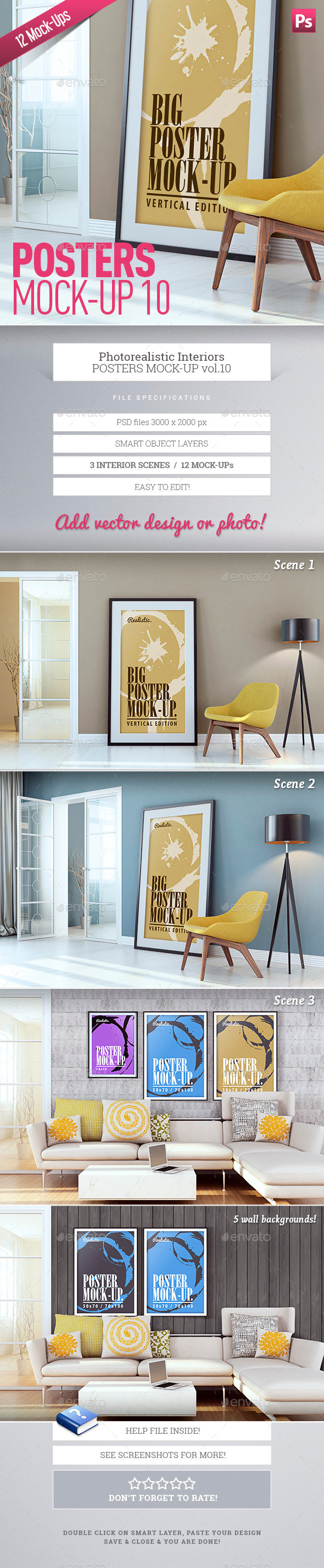 Posters Mock-Up vol.10 - Posters Print