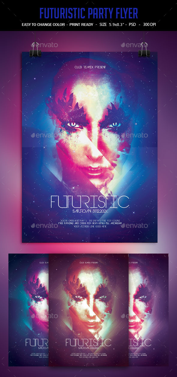 Futuristic Poster - Clubs & Parties Events