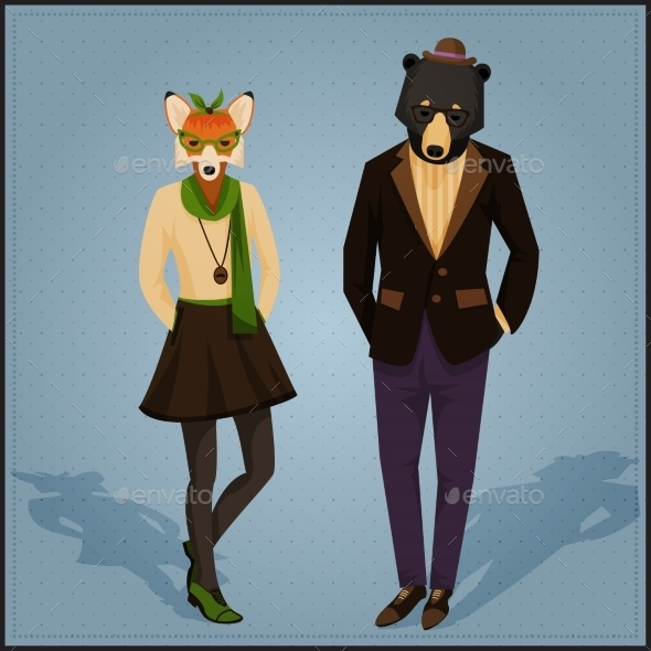 Fashion Hipster Animal Couple - Miscellaneous Characters