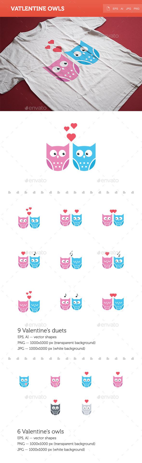Valentine Owls - Valentines Seasons/Holidays