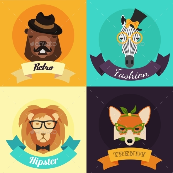 Set of Fashion Hipster Animals  - Tattoos Vectors