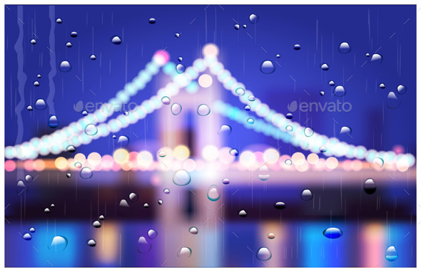 City Bridge in the Rain - Buildings Objects