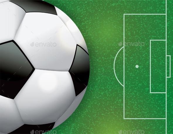 Soccer Football on Field Illustration - Sports/Activity Conceptual