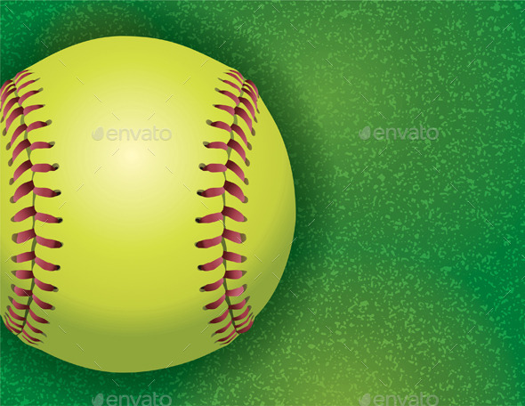 Softball on a Textured Grass Field - Sports/Activity Conceptual