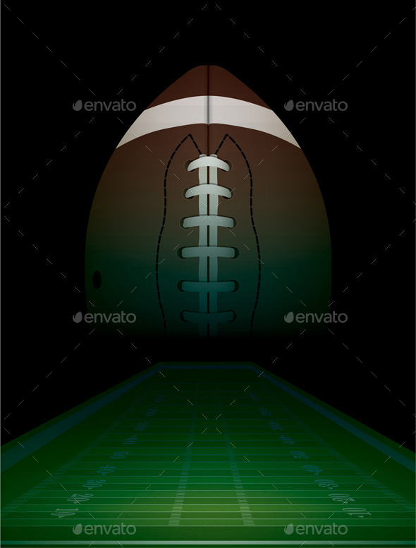 American Football Field and Ball - Sports/Activity Conceptual