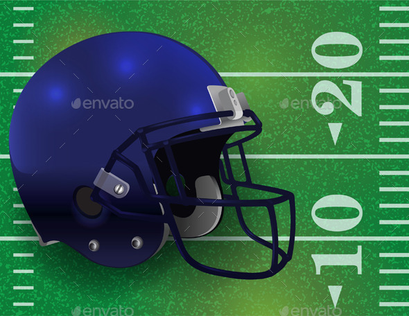 American Football Helmet on Field - Sports/Activity Conceptual