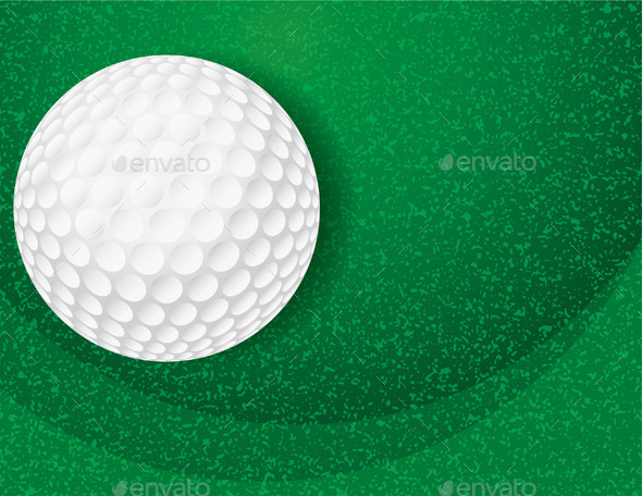 Golf Ball on Textured Green Illustration - Sports/Activity Conceptual