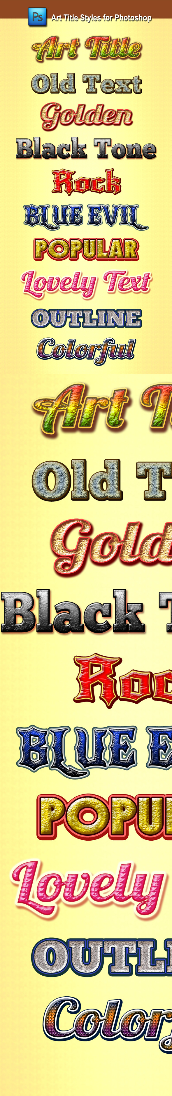 Art Title Styles for Photoshop - Text Effects Styles