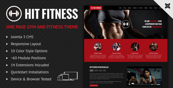 Hit Fitness & Gym One Page Joomla Theme - Health & Beauty Retail