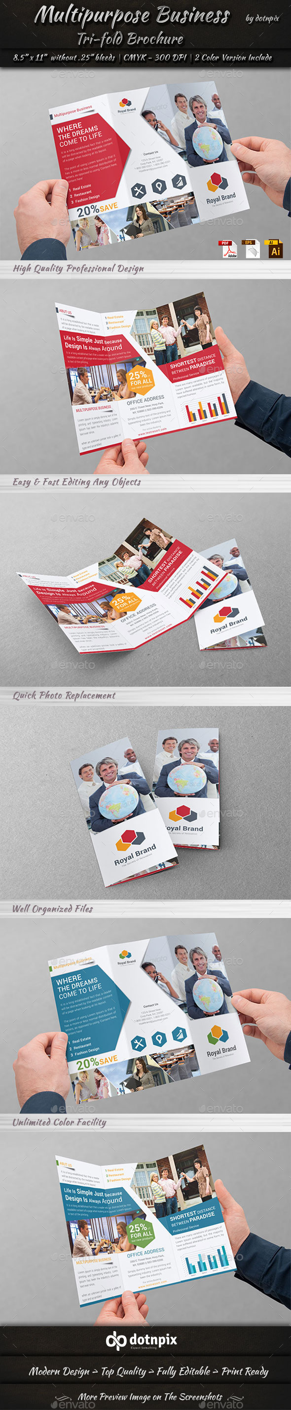 Multipurpose Business Tri-Fold - Corporate Brochures