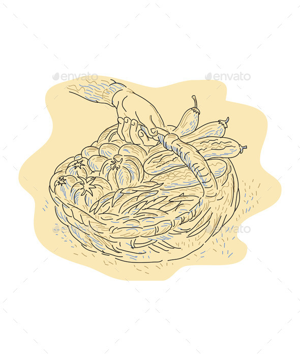 Hand Holding Basket Full Harvest Crops - Food Objects