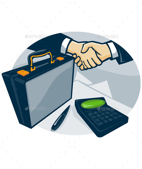 Business Handshake Deal Briefcase Retro - People Characters