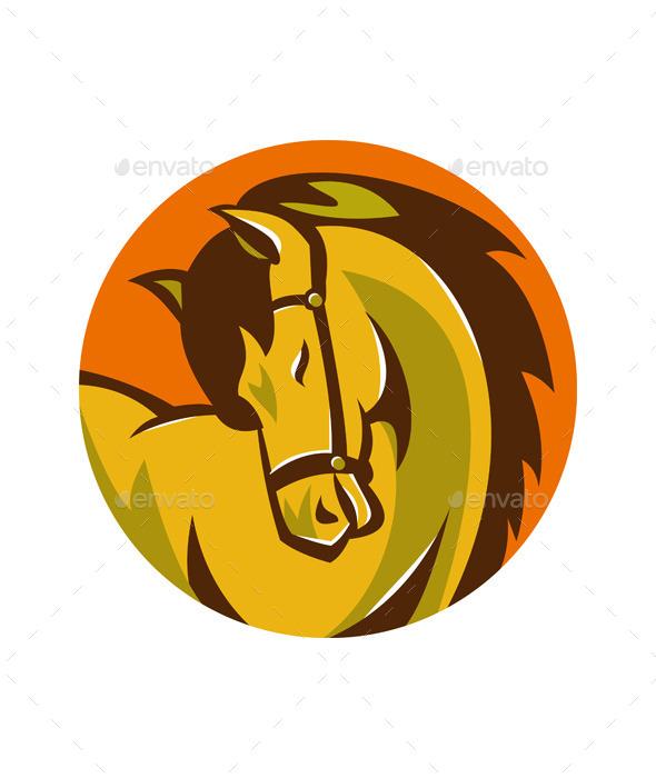 Horse Stallion Head Retro - Animals Characters
