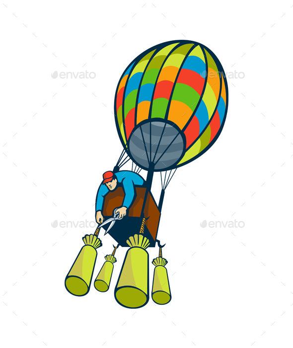 Man Cutting Ballast Hot Air Balloon - People Characters