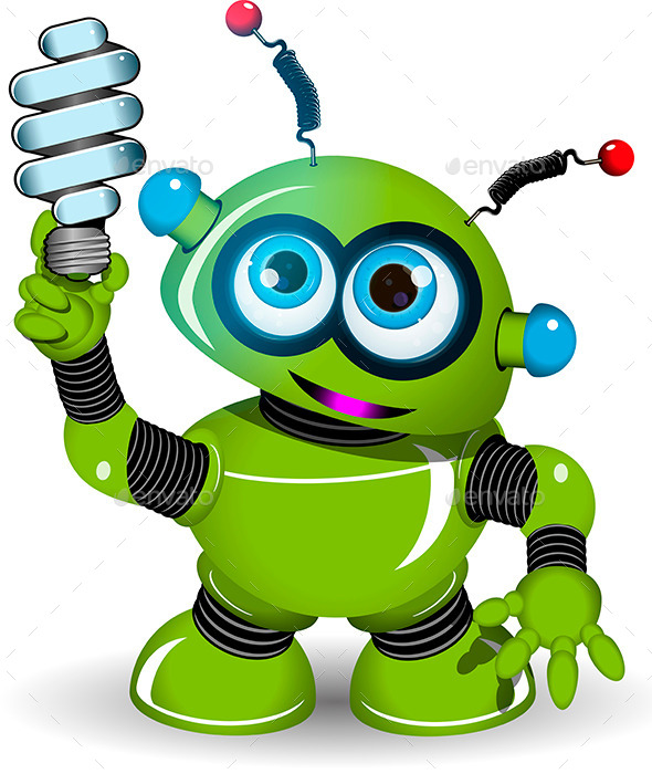 Green Robot and Lamp - Industries Business