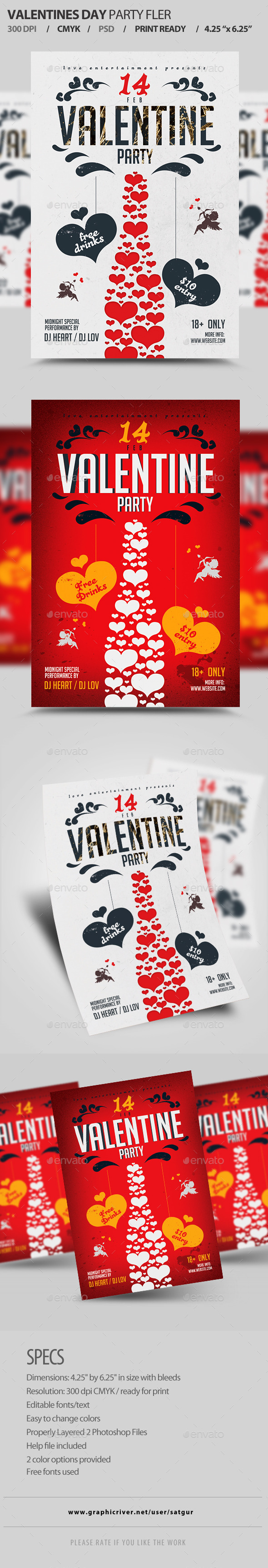 Valentines Day Party Flyer Template PSD  - Clubs & Parties Events