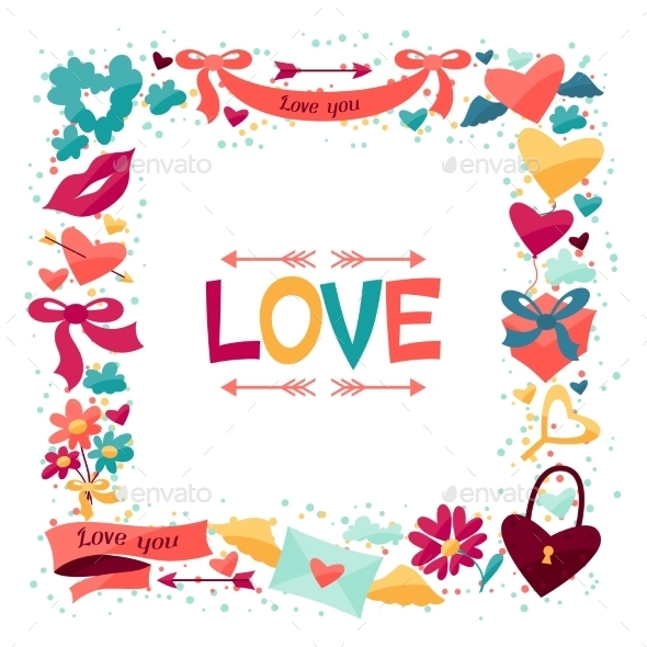 Background with Valentine's and Wedding Icons. - Valentines Seasons/Holidays
