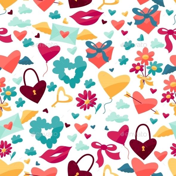 Pattern with Valentine's and Wedding Icons. - Valentines Seasons/Holidays